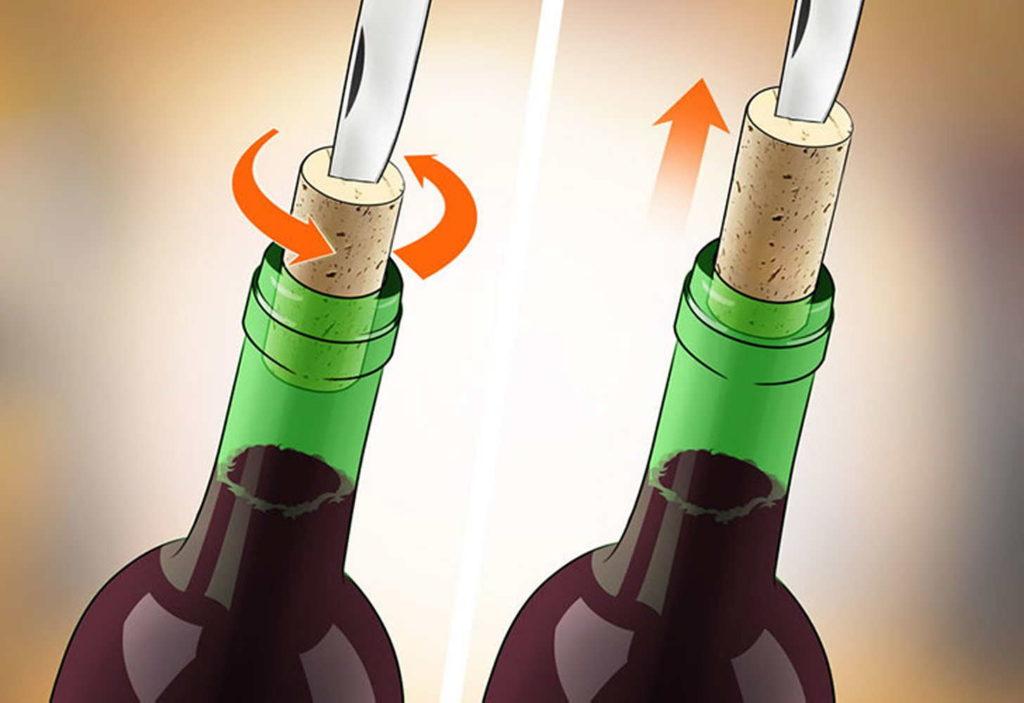 Открываем ключем или ножом вино