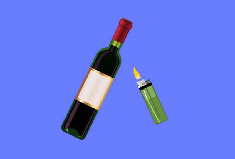 Как открыть бутылку вина зажигалкой