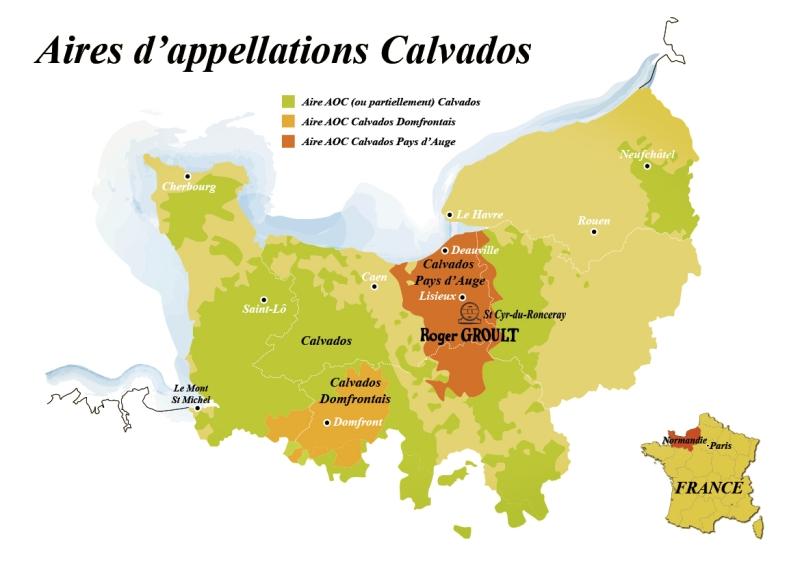 Карта регионов, изготавливающих кальвадос выглядит следующим образом:...